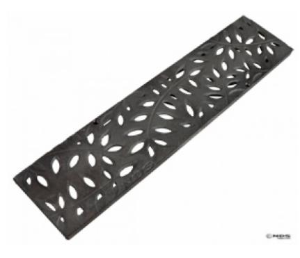"12"" Mini Channel Grate, Decorative Botanical Cast Iron"