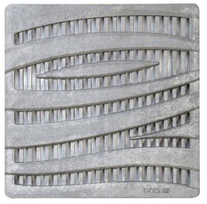 "12"" Square Catch Basin Grate, Decorative Wave Cast Iron"